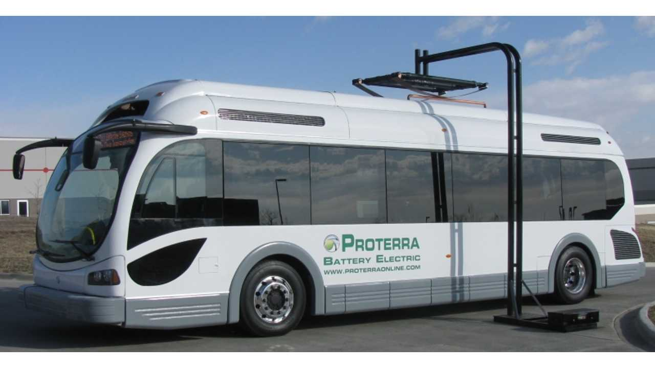 Prototype Proterra EcoRide Bus Under Quick Charger