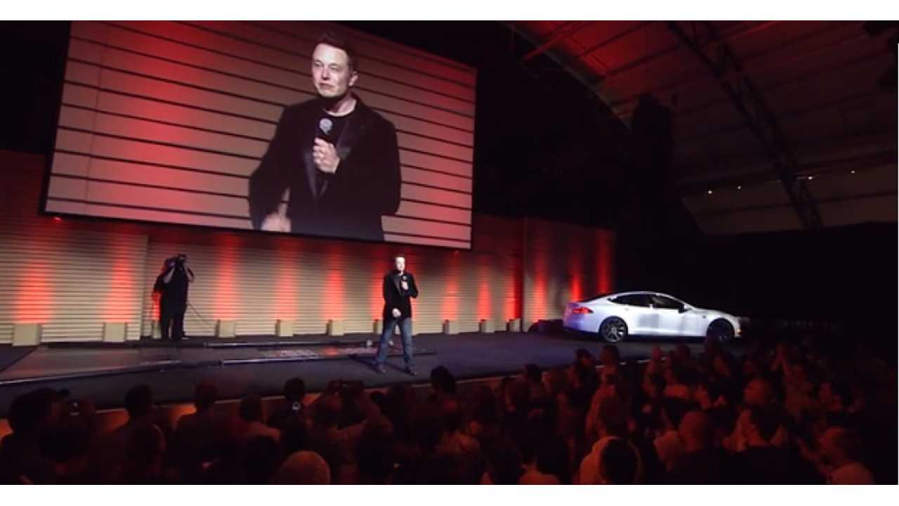 Elon Musk Takes The Stage To Demonstrate Tesla's 90 Second Battery Swap Earlier This Year