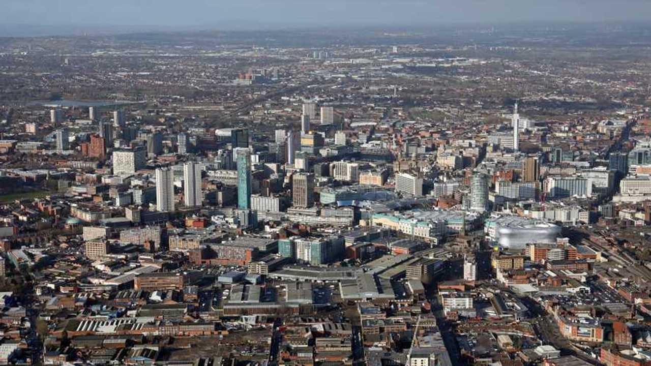 Aerial view of Birmingham city centre UK