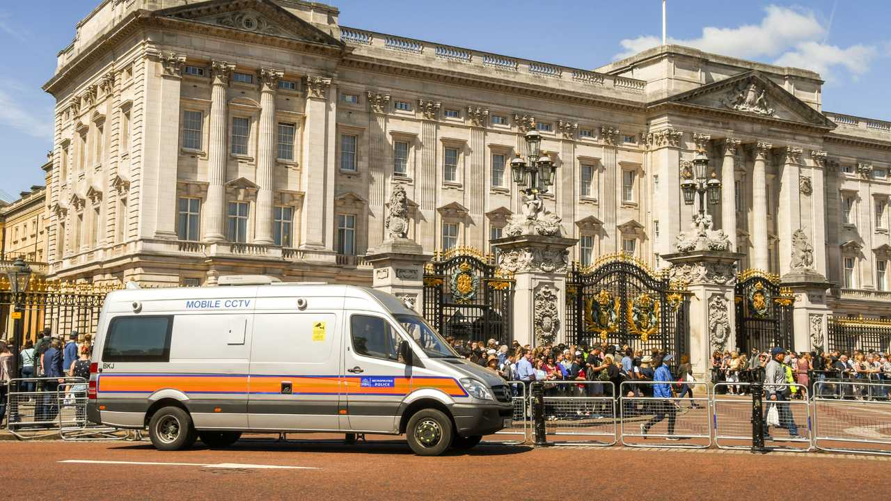 Police mobile video unit vehicle outside Buckingham Palace in the centre of London