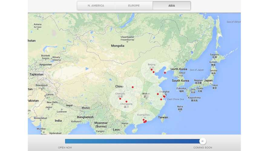 Tesla Adds Asia To Supercharger Map