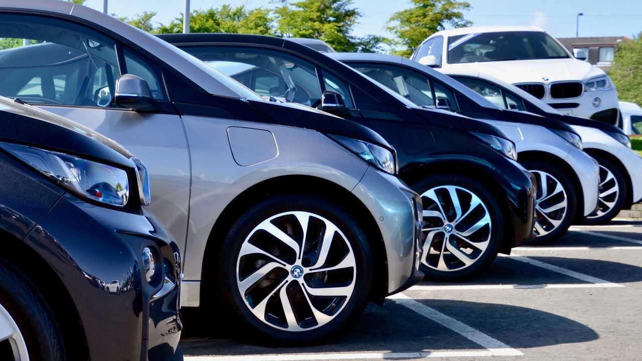 Row of BMW i3 electric cars at Peter Vardy Garage Edinburgh Scotland