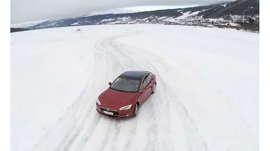 Video: Tesla Model S on Skates on Ice
