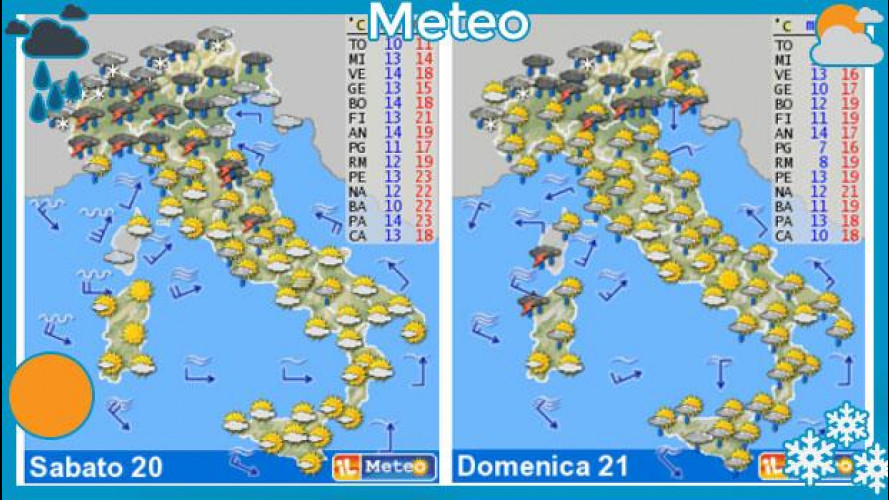 Meteo del fine settimana 20 e 21 aprile: torna la pioggia