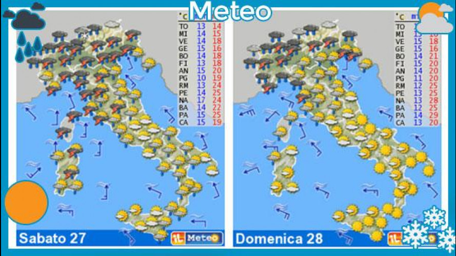 Meteo del fine settimana 27 e 28 aprile: ancora pioggia