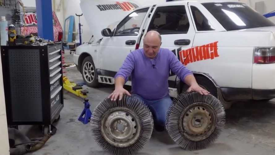 Russian decides to build tyres out of 3000 nails