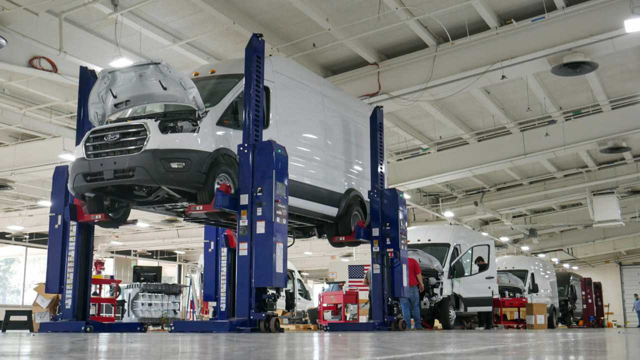 Electric Transit vans being assembled at Lightning's production facility in Loveland, Colorado.