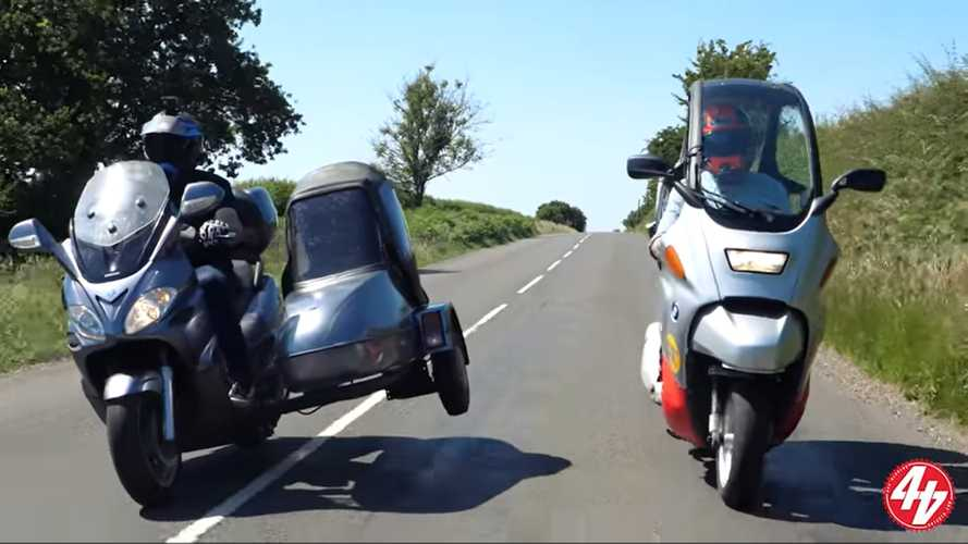Watch A Piaggio X9 With A Sidecar Battle A BMW C1 In This Series