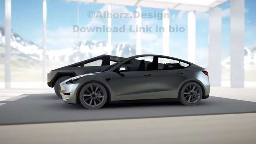 Tesla Model Y In Stainless Next To Tesla Cybertruck
