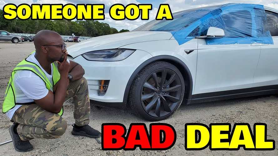 Rich Rebuilds Discusses Buying A Salvage Tesla While In A Junkyard