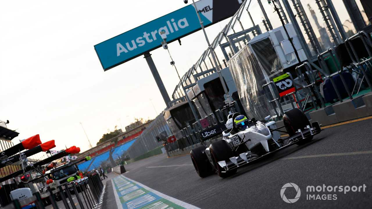 Zsolt Baumgartner leaves the pits in the F1 2-seater at Australian GP 2020