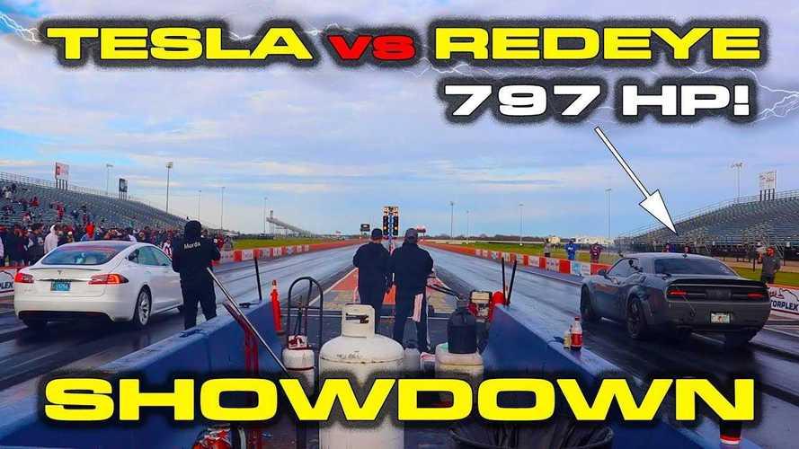 Watch Tesla Model S Race Dodge Challenger Hellcat Redeye Three Times