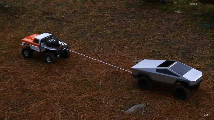 Watch RC Tesla Cybertruck In Tug-Of-War Against A Chevy Pickup Truck