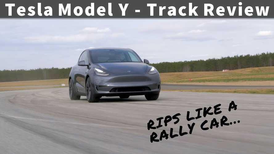 Watch Tesla Model Y Drift, Rip Like Rally Car, Shred Tires On Track