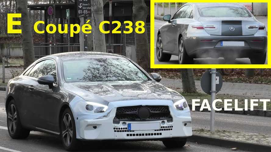 2021 Mercedes E-Class Coupe caught in traffic with light camo