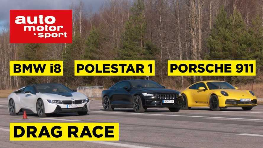 BMW i8 Fights Polestar 1 And Porsche 911 Carrera In Drag Race