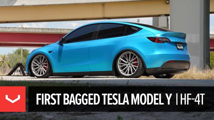 Tesla Model Y On Vossen Wheels And Air Suspension Will Turn Heads