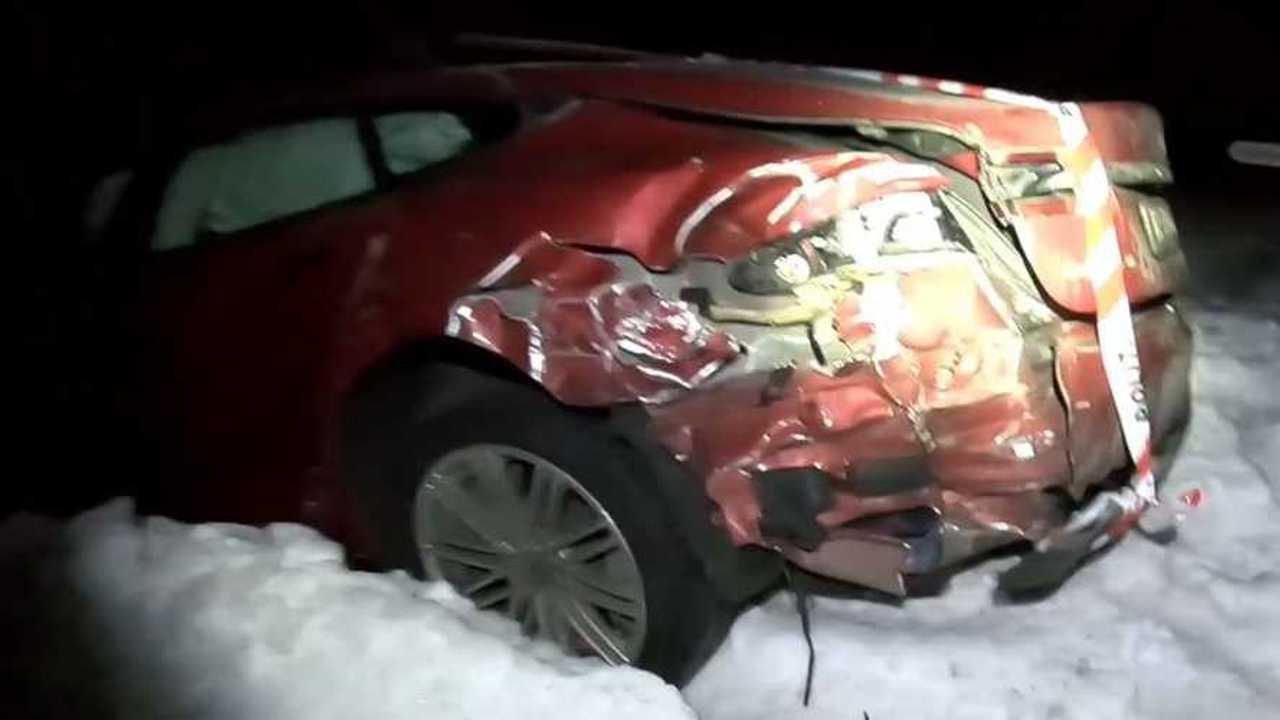 Tesla hits truck