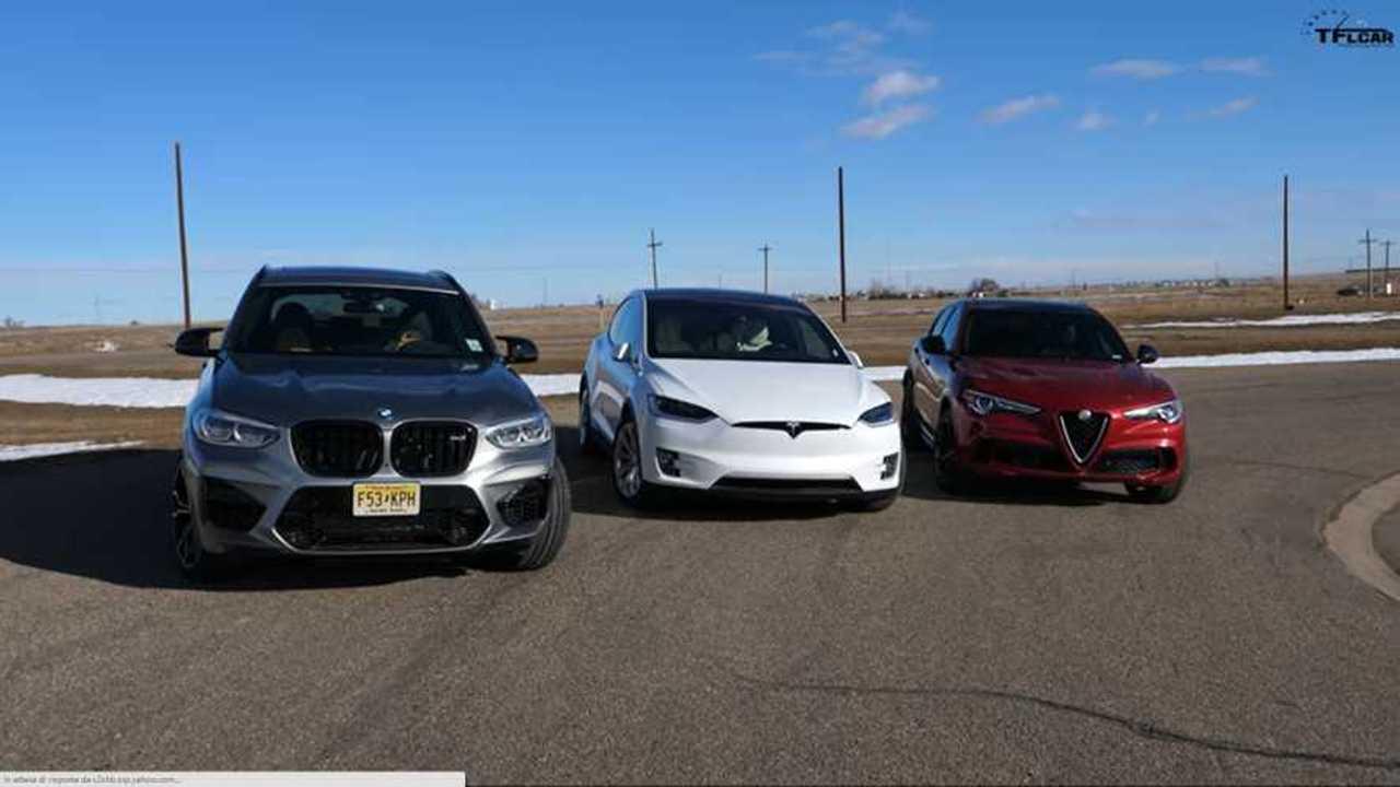 Tesla Model X vs Alfa Romeo Stelvio Quadrifoglio vs BMW X3 M Sport