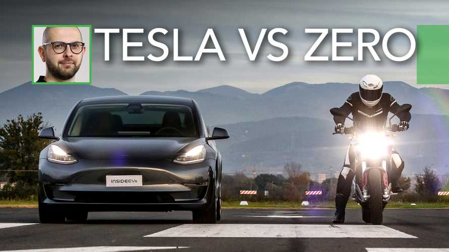 Watch Tesla Model 3 Performance drag race Zero SR/F motorcycle