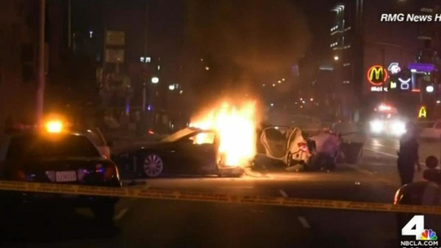 Stolen Tesla Model S crashes, splits into two & bursts into flames