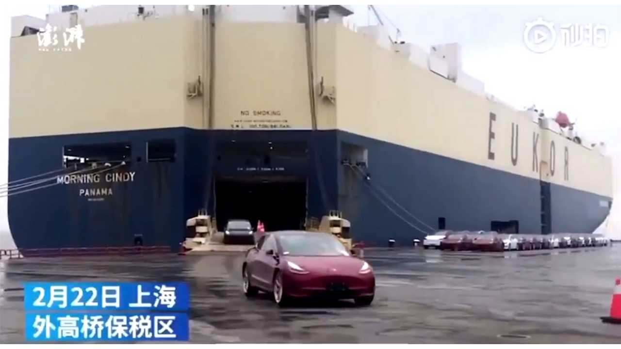 Over 1,600 Tesla Model 3 Roll Off Ship In China: Video