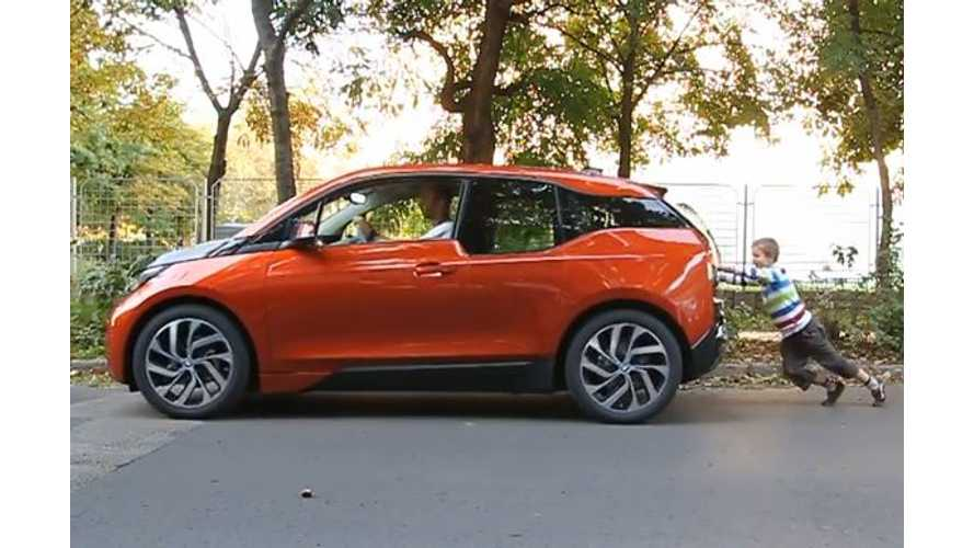 BMW i3 Is So Lightweight A 7-Year-Old Can Push It - Video