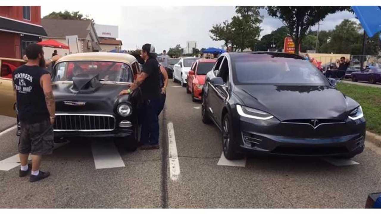 Tesla Model X among classics (source: MLive)