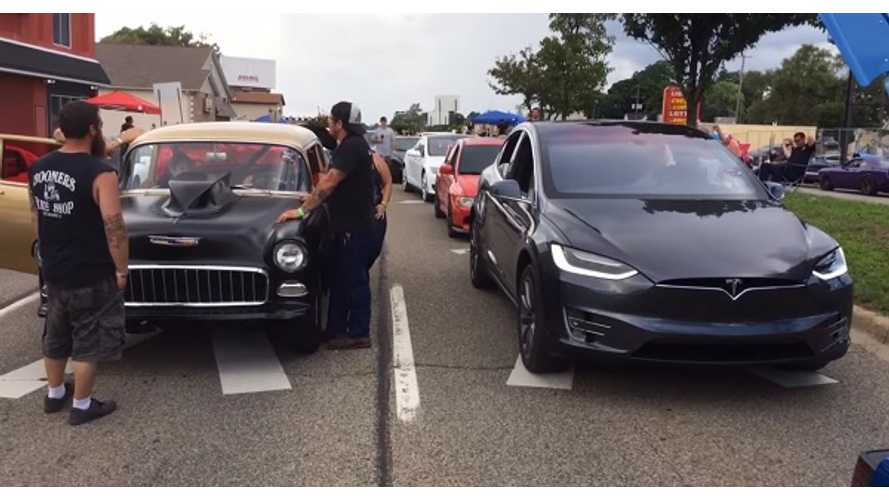 Tesla Model X Shows Up At Woodward Dream Cruise To Drag Race Classics - Video