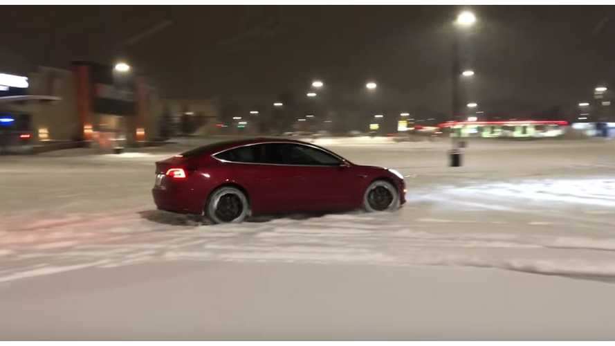 Watch Tesla Model 3 RWD Get Tested In Snow Without Winter Tires