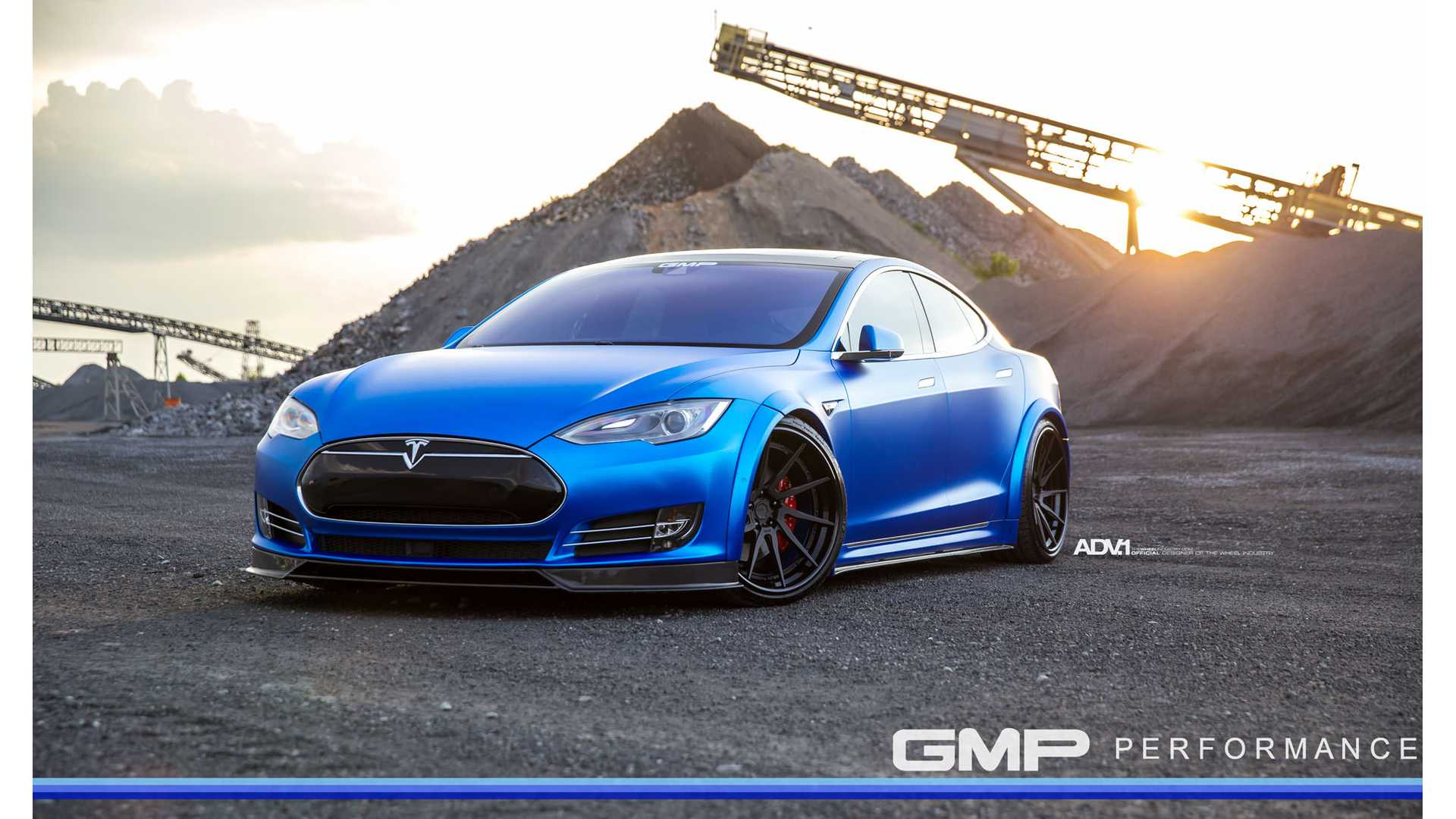 Matte Blue Tesla Model S P90D With ADV 1 Wheels And