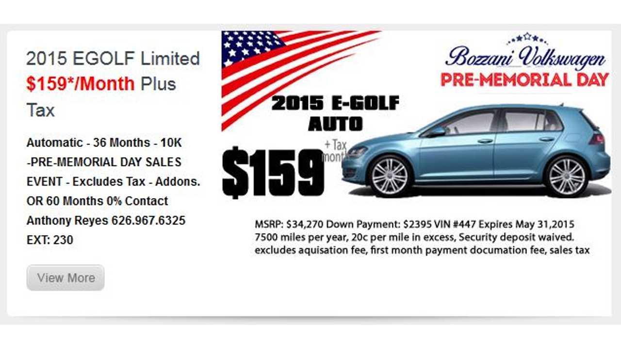 Volkswagen Lease Deals >> Volkswagen E Golf Lease Deal 158 Per Month