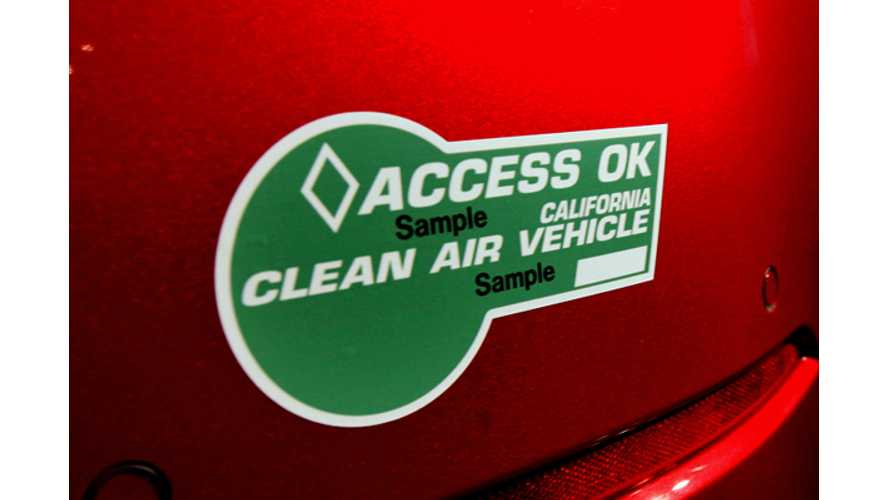 California Moves One Step Closer To Issuing Green HOV Stickers Again