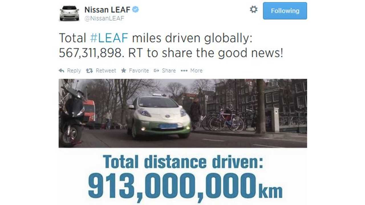Total Nissan LEAF Miles Driven Globally - Over 567 Million