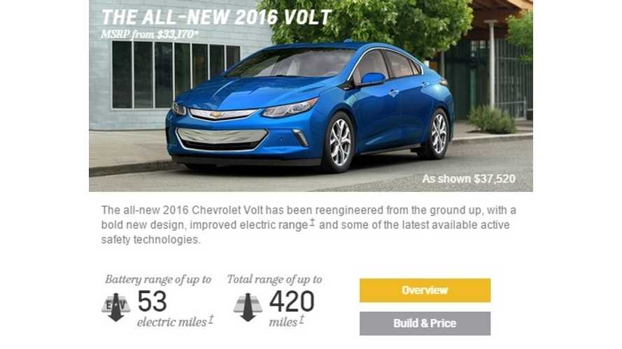 2016 Chevrolet Volt Configurator Now Online, Plus First Deliveries Update