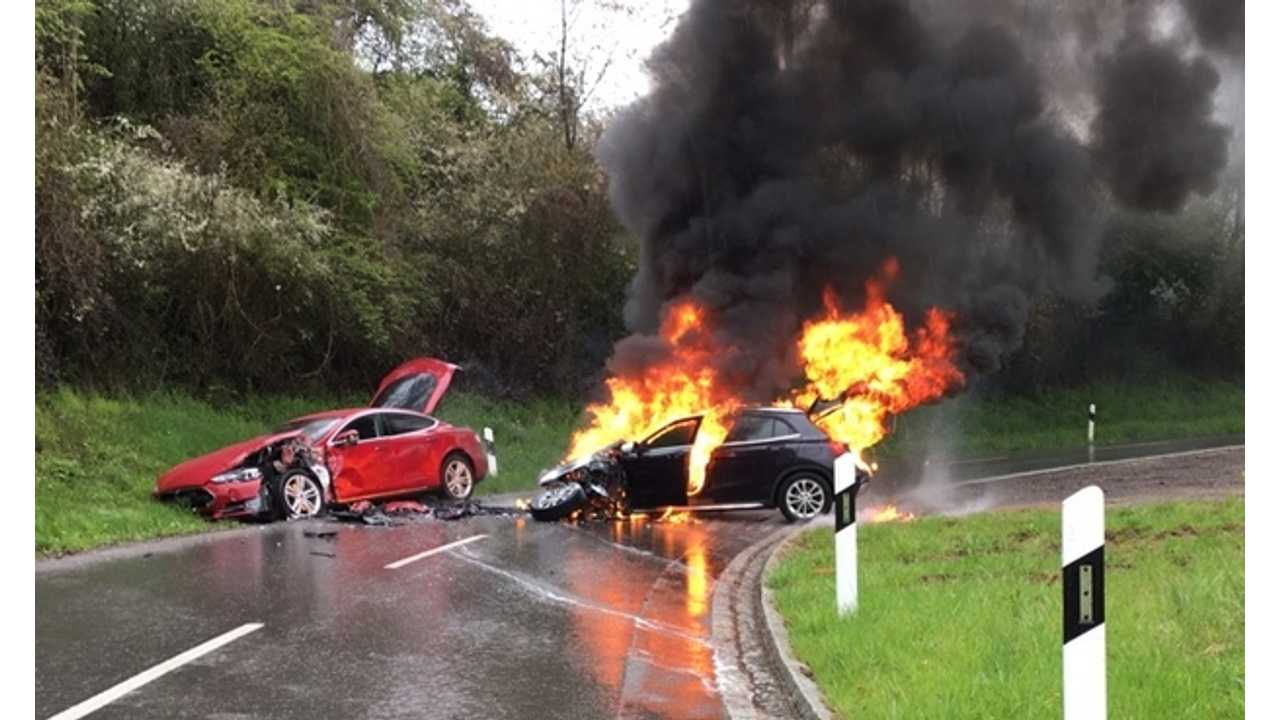 Crash Involving Tesla Model S And Gas-Fueled Car Results In ICE Vehicle Fire