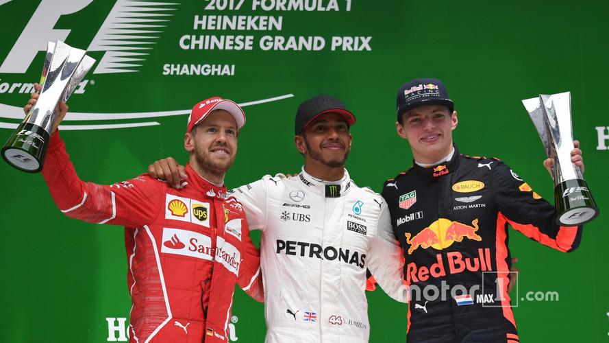 Podium- second place Sebastian Vettel, Ferrari, Race winner Lewis Hamilton, Mercedes AMG F1, third place Max Verstappen, Red Bull Racing