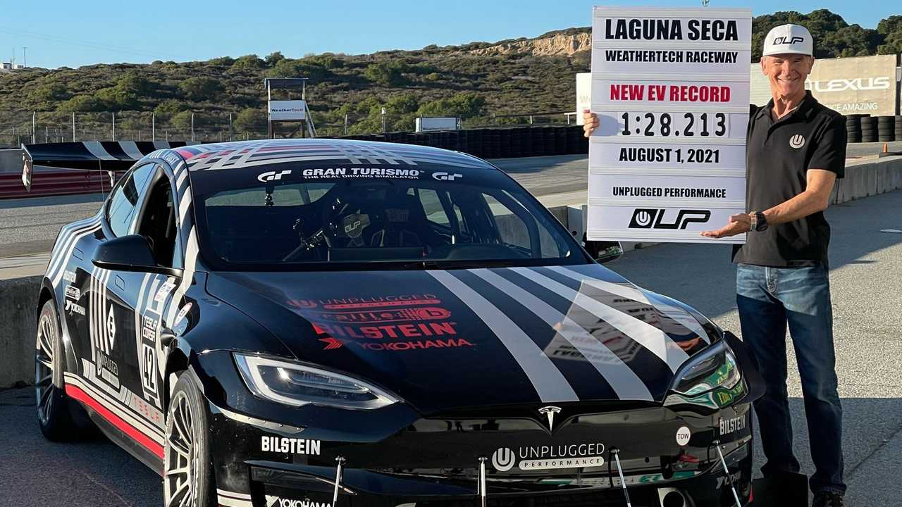 Unplugged Performance's Tesla Model S Plaid - Randy Pobst's record of 1:28.213 at Laguna Seca (source: Unplugged Performance)