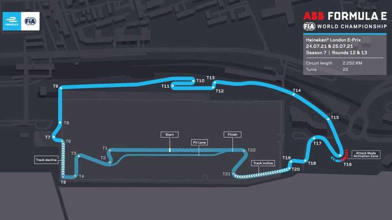 2021 Formula E London track layout