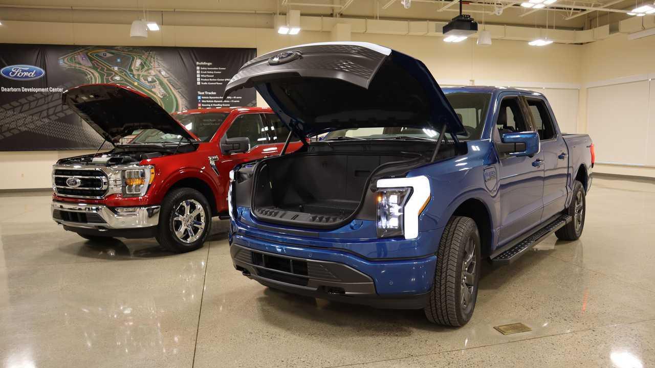 Ford F150 Lightning mega power frunk compared to regular F150