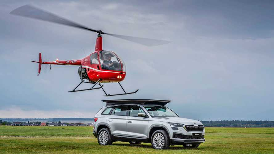 Watch a helicopter land on a Skoda Kodiaq as nod to old Top Gear episode