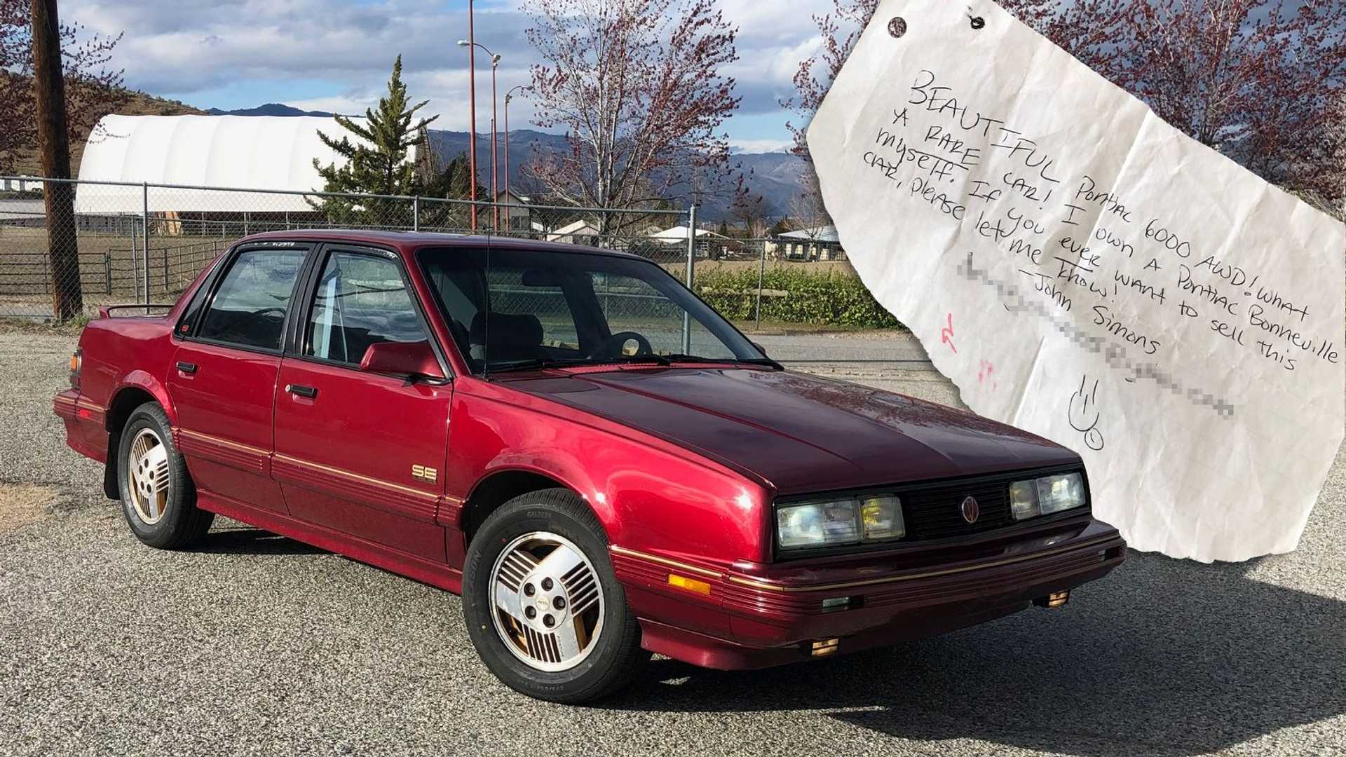 This Guy Just Bought A Pontiac 6000 He Left A Note On 14 Years Ago