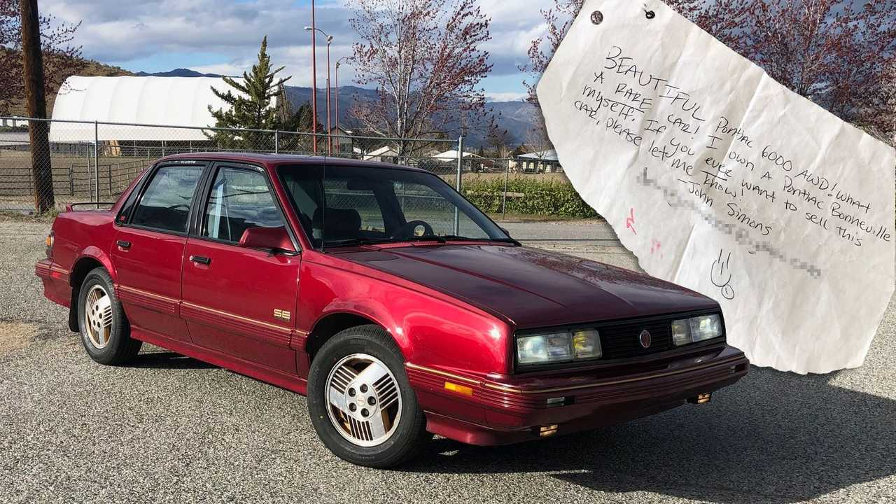 The 1990 Pontiac 6000 SE AWD and the note John Simons left on it 14 years ago.