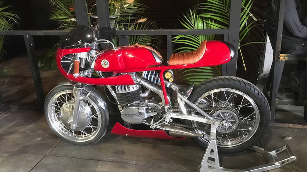 This vintage Bultaco cafe racer sported an interesting mix of old and new components