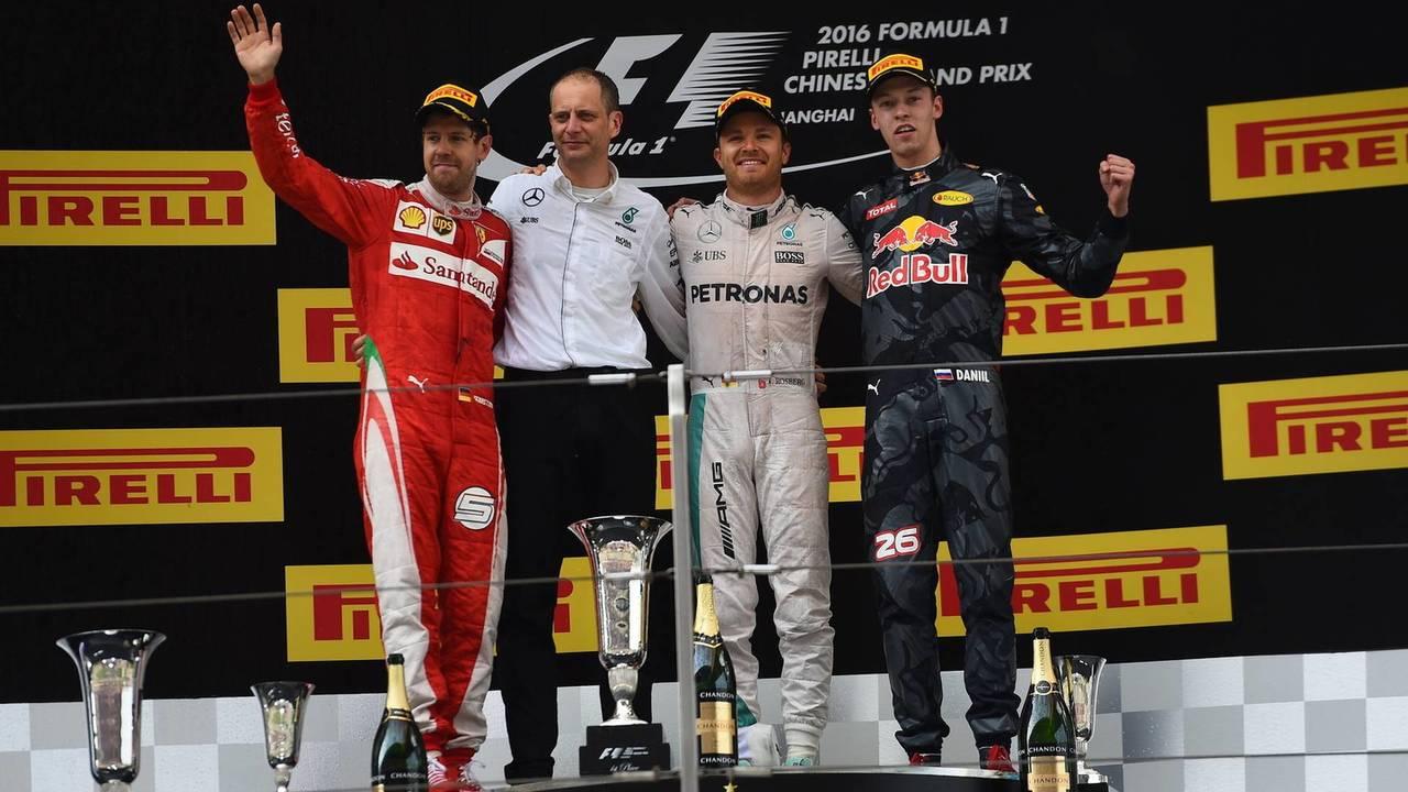 2016: 1. Nico Rosberg, 2. Sebastian Vettel, 3. Daniil Kvyat