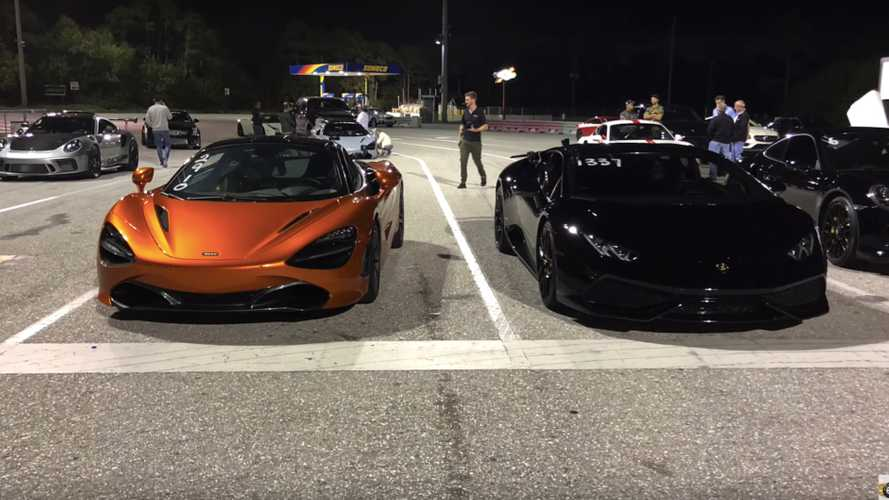 Lamborghini Huracan beats McLaren 720S in 1/4 mile drag race