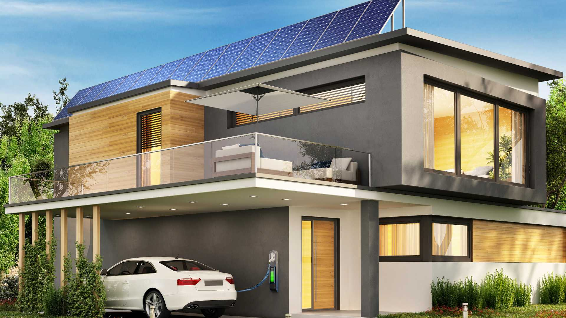Modern homes with electric car charging illustrations | Motor1.com ...