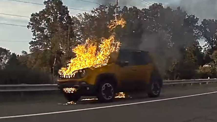 Not-A-Tesla Fire: TeslaCam Captures Jeep Renegade Ablaze