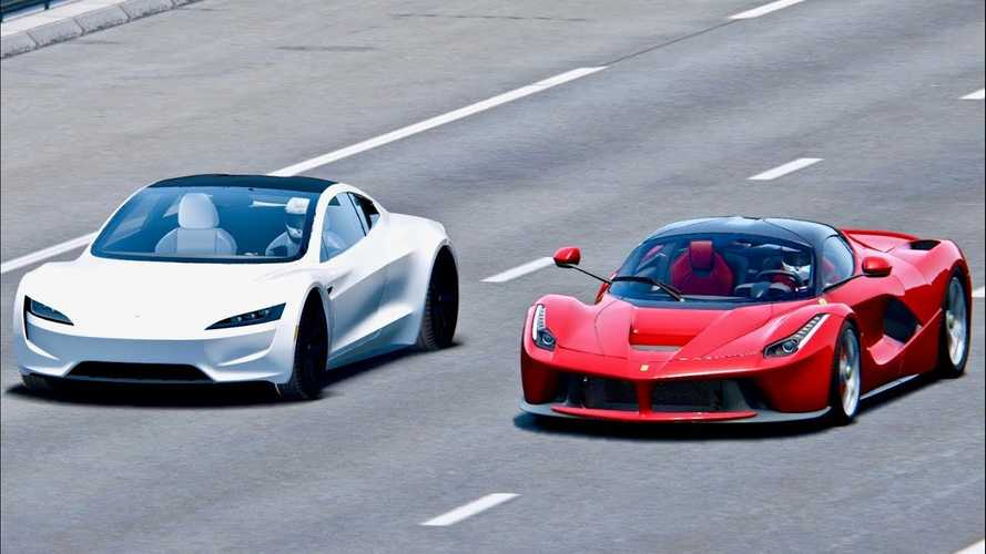 Watch Tesla Roadster Race Ferrari LaFerrari: Simulated Video
