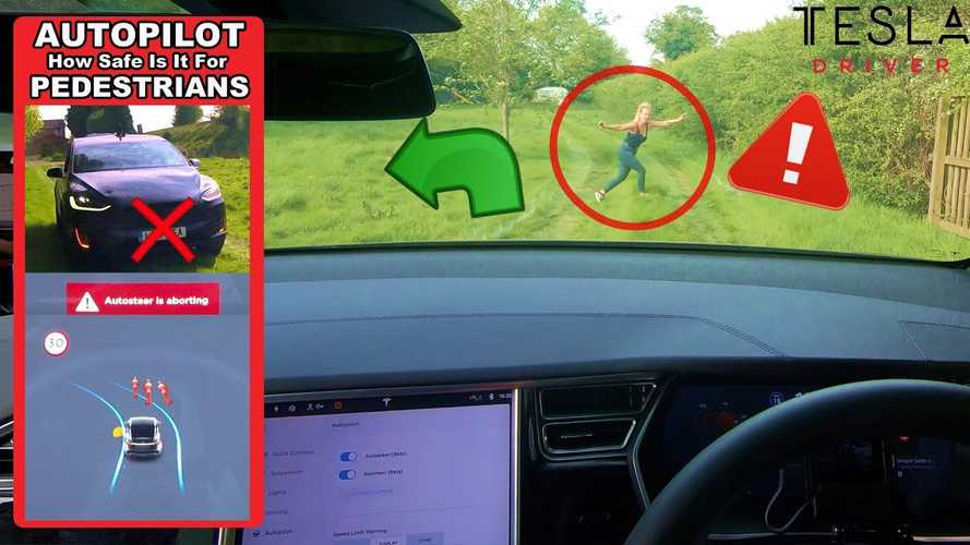 Tesla Autopilot Versus Crazy Pedestrians: Will The Car Stop? Video